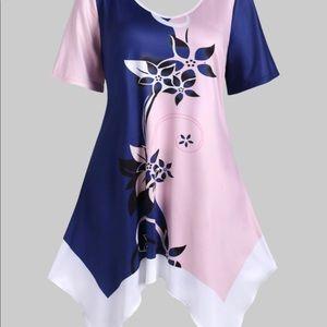 NWT Rosegal Floral Handkerchief Color block 1X